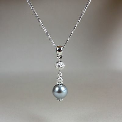 Light grey pearl silver chain pendant necklace party wedding bridesmaid gift