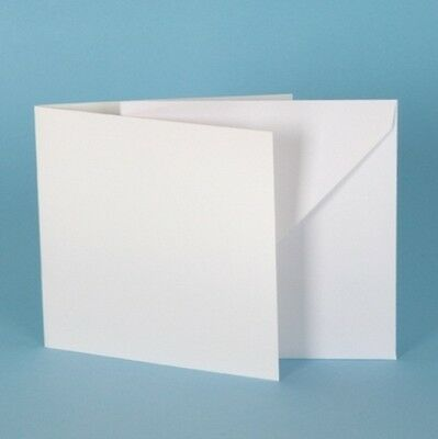 25 Large Square Ivory Linen Card Blanks /& Luxury Envelopes 6 inches 155mm