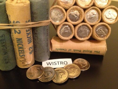 1 Original Bank Wrapped Roll ^^^BRILLIANT^^^ Uncirculated 1967 Rabbit Nickels