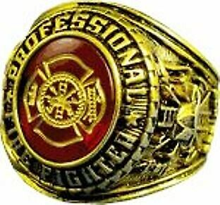 GP /& RHODIUM PROFESSIONAL FIREFIGHTER ETCHED AUSTRIAN CRYSTAL SIGNET RING 18K