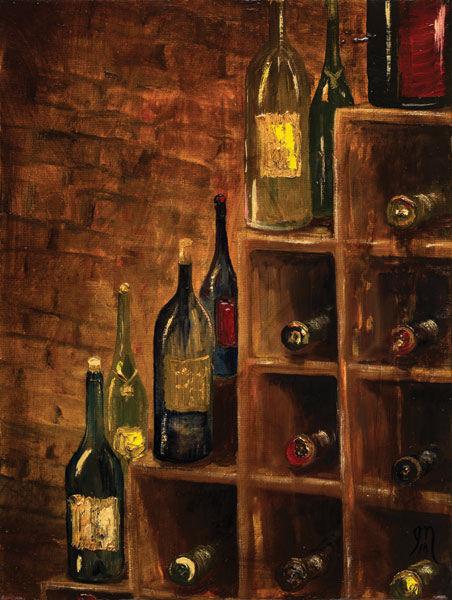 Jodi Monaham  Racked Wine Keilrahmen-Bild Leinwand Wein-Keller Flaschen Küche