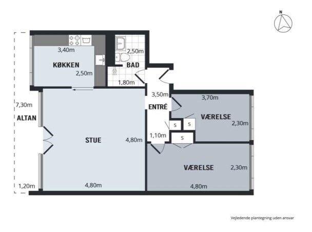 4700 vær. 3 lejlighed, m2 83, Parkvej