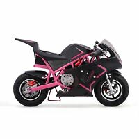 Outdoor Pink Gas Powered 40cc Mini Small Pocket Bike Motorcycle Boys Girls Youth