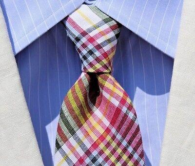 Brooks Bros. Gent's Magenta, Blue, Yellow, White, & Black Madras Check Tie - USA
