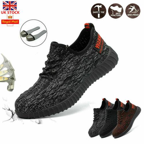 UK Noir Homme Ultra Léger En Acier Orteil Casquette Sécurité Travail Chaussures Baskets Bottes