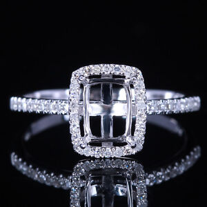 Ladies-Wedding-Ring-10K-White-Gold-Natural-Diamonds-Semi-Mount-8x6mm-Emerald