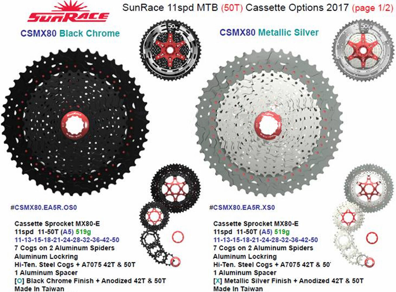 2017 Sunrace 11 Speed CSMX80 11-50T Cassette Bicycle Wide Ratio MTB Freewheel