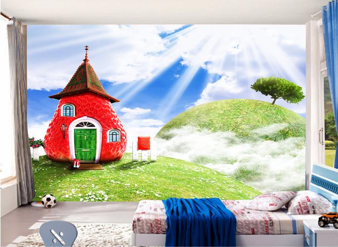 3D Himmel Erdbeer Zimmer 945 Tapete Wandgemälde Tapeten Bild Familie DE Summer
