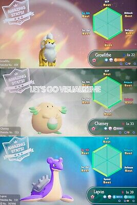 Pokemon Let S Go Pikachu Eevee Shiny 6iv Growlithe Chansey Lapras Set Fast Ebay