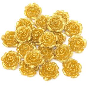 Or-20-mm-Resin-roses-Flatbacks-Craft-Cardmaking-Rose-embellissements-Pack-de-20