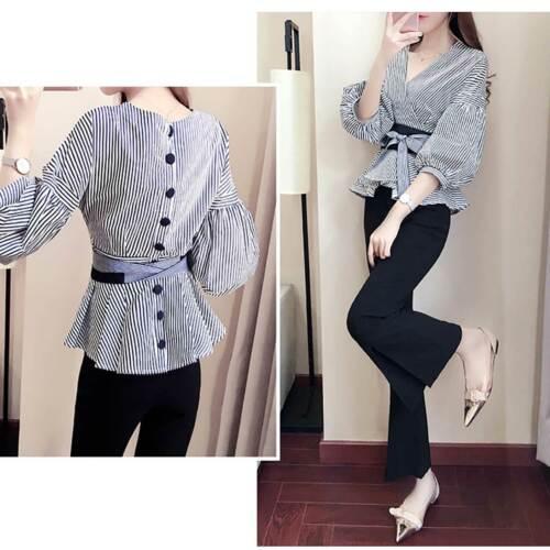 Belt Fashion Women Casual V-Neck Blouse Lantern Long Sleeve Shirt Style Korean
