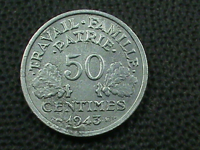 FRANCE   50 Centimes  1943  COMBINED SHIPPING  .10 Cents USA   .29 INTERNATIONAL