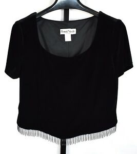 63b2f9f6935a27 Image is loading Ronni-Nicole-Velour-Beaded-Short-Sleeve-Crop-Top-
