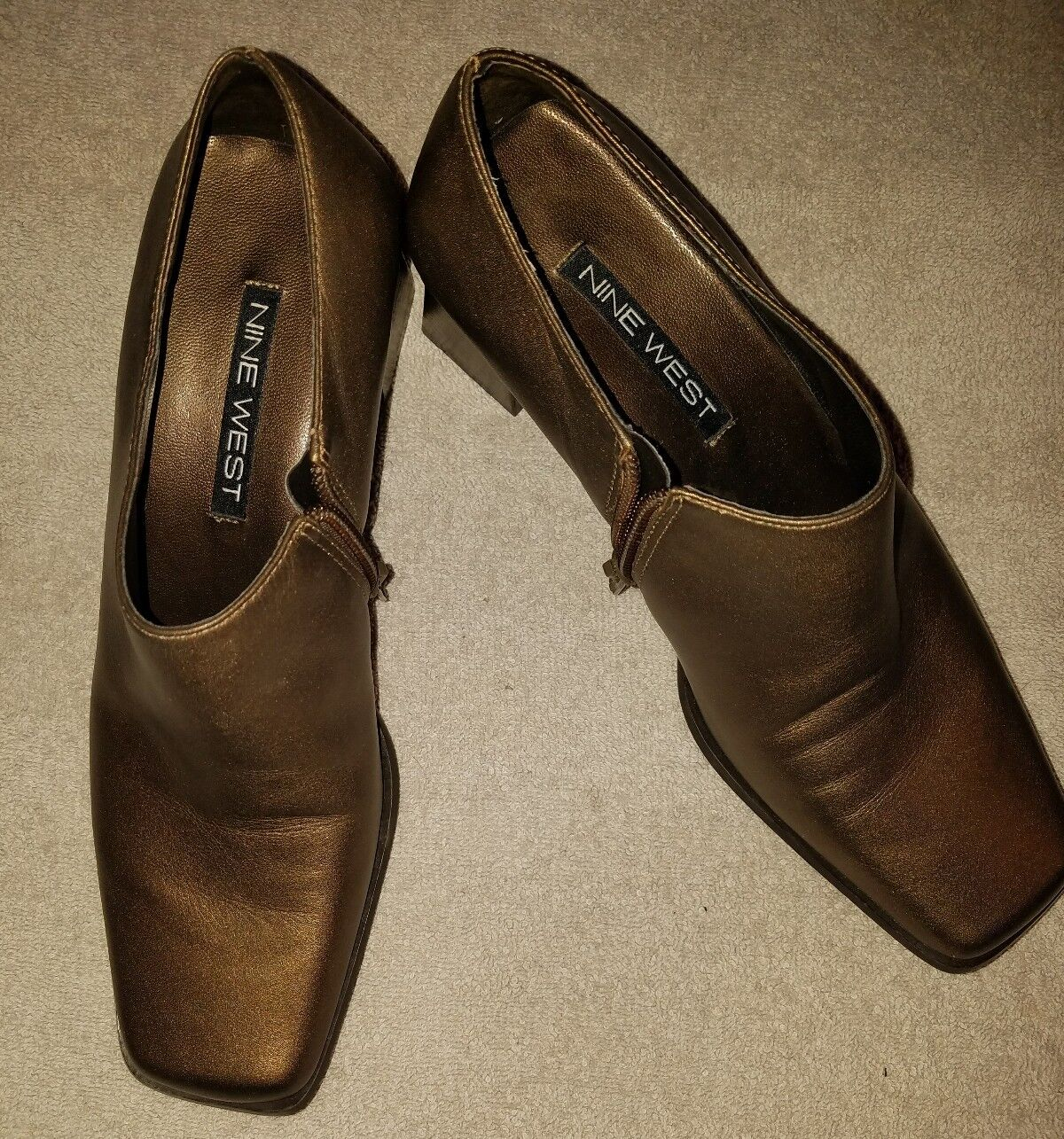 Nine West Womens Ankle Boot Size 6M Brown Leather Bootie Zipper Block Heel Pump
