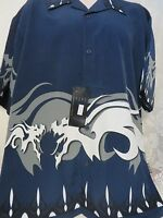 Dragonfly Shirt Blue White Dragon Navy Shirt Xl Button Front 2001