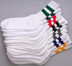 12 Pairs 1 Dozen Old School Striped Crew Socks Retro Athletic Casual