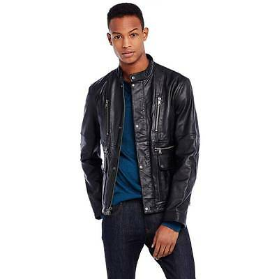 New Armani Exchange AX Mens Muscle Slim Fit Signature Leather Jacket g6k115lt