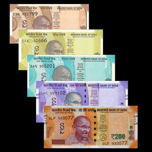 Set-of-5Pcs-India-10-20-50-100-200-Rupees-Gandhi-New-Issued-Random-Year-UNC