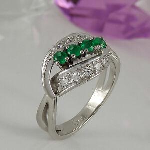 Ring-585-Weissgold-14K-4-Smaragd-Edelstein-ca0-32ct-und-10-Diamanten-0-40ct-Gr-54