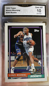 1992 Topps Rookie Alonzo Mourning RC #393 Gem Mint 10 Hall Of Game
