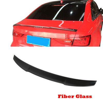 Auto Rear Trunk Spoiler Wing Fit For Audi A3 S3 RS3 Sedan 14-19 FRP Glossy Black