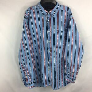 f0fafd953 Tommy Hilfiger Blue Striped Long Sleeve Button Shirt Collared 80s 2 ...