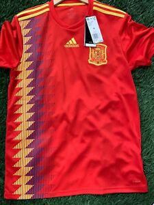detailed look 0342d 67181 Details about NWT ADIDAS Official Licensed SPAIN World Cup RFCF Blank  Jersey Sz M CX5355