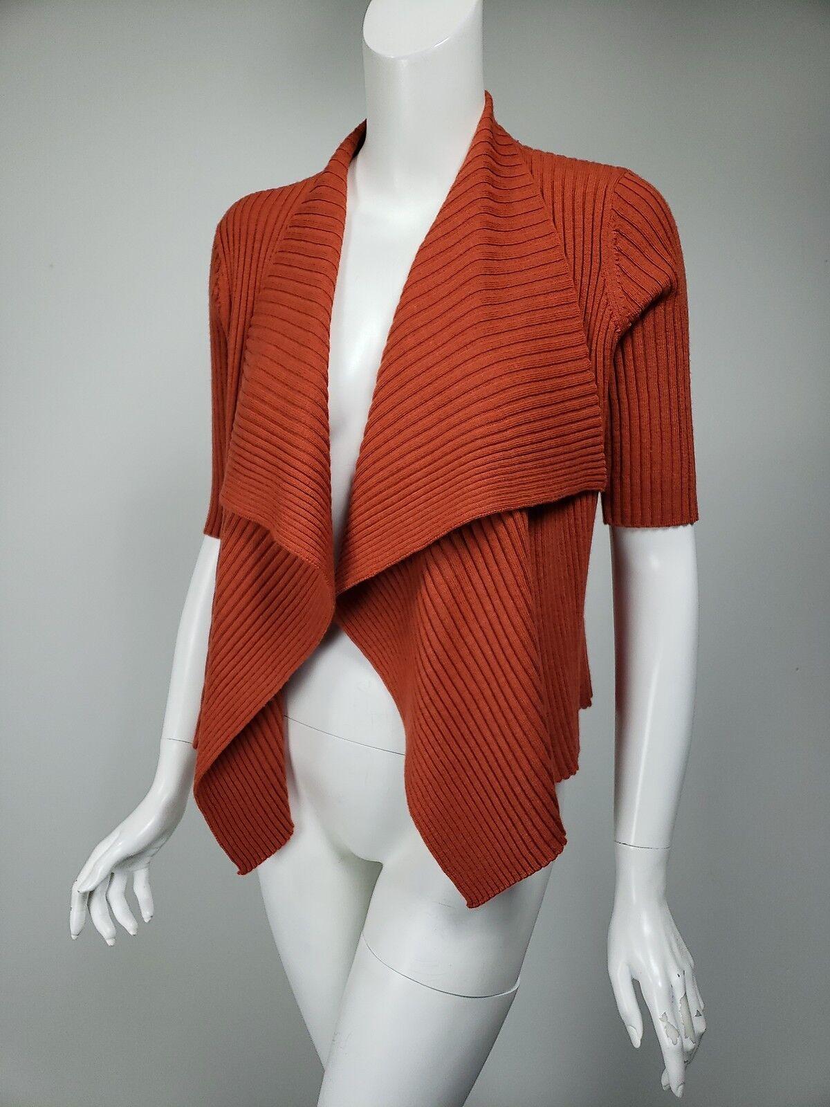 EILEEN FISHER Burnt orange Ribbed Merino Wool Open Front Cardigan sz XS