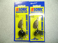2 X Yakima Bait , Wordens , 1/8 Oz , Sonic Rooster Tail Spinners - Black -