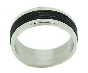 Mens-Stainless-Steel-Black-Rubber-Band-Fashion-Plain-Jewelry-Unique-Ring