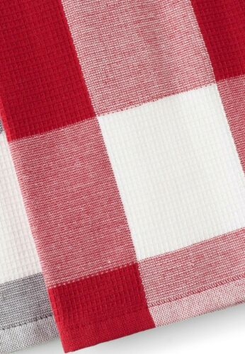 Red White Check Kitchen Towels 2-Pk Waffle Design Cotton Oversized 16 x 28 Inch