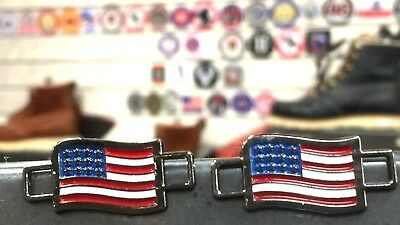 USA FLAGS Shoes Boot Lace Keepers US American  BrooklynMaker 2 PAIRS!!!!!!