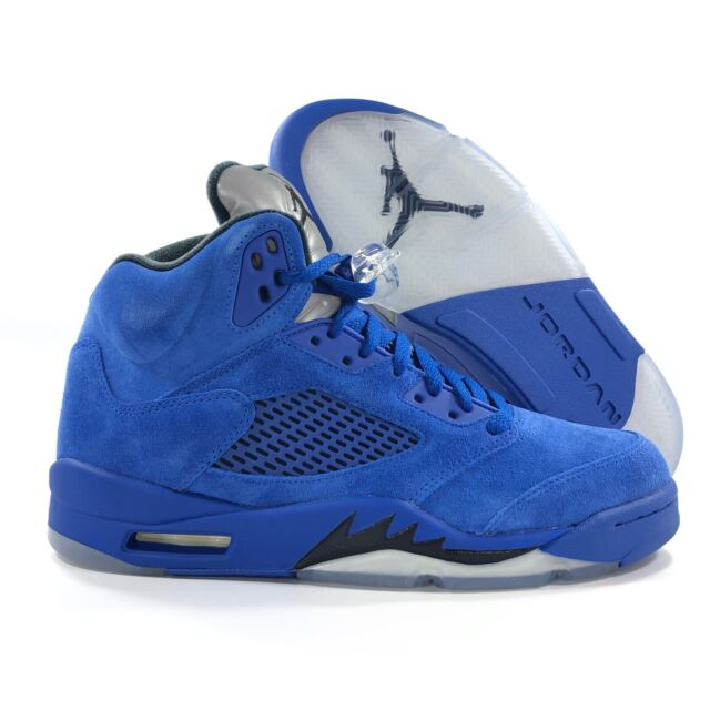 new concept 29913 8129f Mens Air Jordan 5 V Retro Blue Suede Game Royal Black 136027-401 US 9