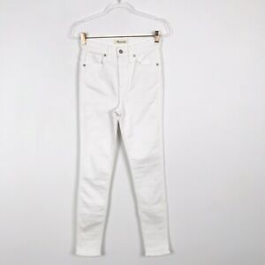 "New Madewell Womens Size 26 10"" High Rise Skinny Jeans Pure White Cotton Stretch"