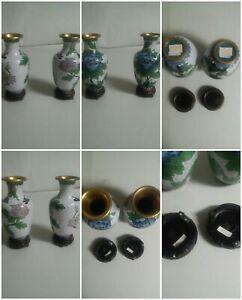 Juego-Par-Oriental-Ovoide-Ceramica-Floreros-Madera-Soportes-Floral-Mano-Pintado