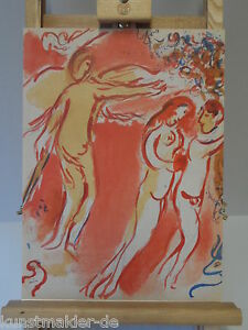 ORIGINAL-Marc-CHAGALL-Lithographie-237-Adam-amp-Eva-Vertreibung-Inkl-Expertise