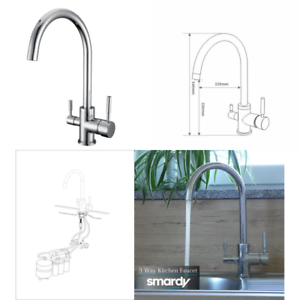 Smardy DUO302 360° Swivel 3 Way Kitchen Faucet 3 8  Reverse Osmosis (RO) for col