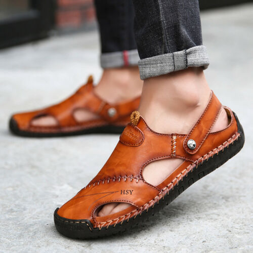 Men Hand Stitching Outdoor Closed Toe Leather Sandals Casual Round Toe Slippers