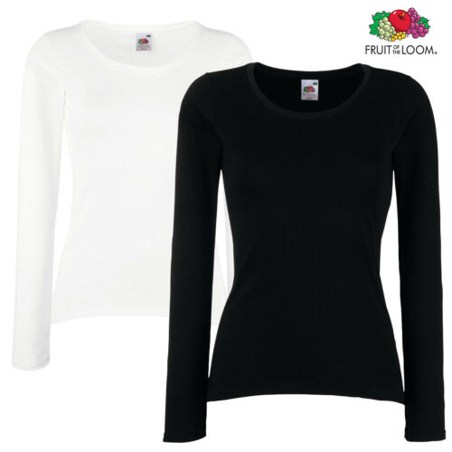 Fruit Of The Loom LADY FIT LONG SLEEVE T-SHIRT BASIC TOP PLAIN COTTON SLEEVES