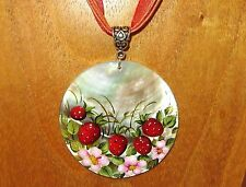 Russian Hand Painted UNIQUE Black Lip SHELL Pendant RED Strawberry Pink Flowers