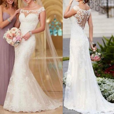 Stock White Ivory Mermaid Lace Wedding Dress