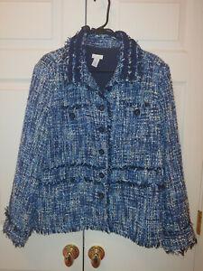 Women Chico's Blue Tweed Boucle Raw Edge Ruffle Jacket Blazer Size 3/XL