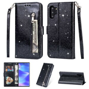 Bling-Sparkle-Leather-Zip-Pocket-Flip-Wallet-Case-Cover-For-Samsung-Galaxy-Phone