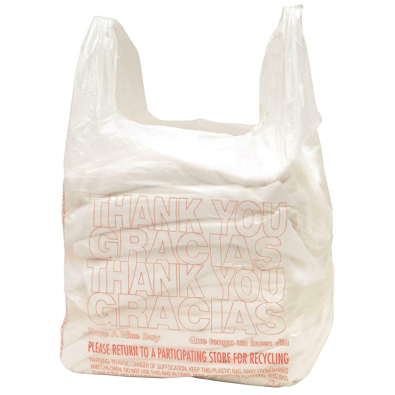 GROCERY WHITE SMALL SIZE BAGS. NEW 5000 ct PLASTIC SHOPPING BAGS T-SHIRT TYPE