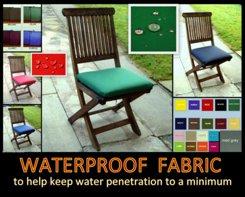 WITH TIES D PAD 2 x ZIPPY WATERPROOF CHAIR SEAT CUSHION PADS GARDEN FURNITURE