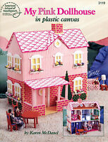 My Pink Dollhouse Playhouse & Furniture Plastic Canvas Patterns Rare