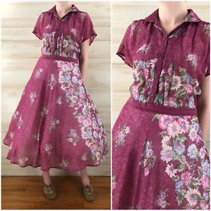 5a5bce8fb0f34 Details about Vintage 70s Pink Floral Sheer Cotton Hippie Boho Full Skirt  Shirt Dress S M