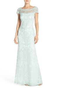 Image Is Loading Tadashi Shoji Lace Column Gown Mint Green Dress