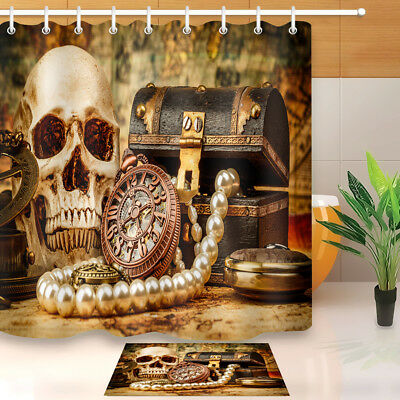 Antique Clock Jewelry Gothic Skull Shower Curtain Waterproof Fabric ...