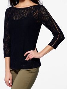 d4bafaad Image is loading NWT-Black-CACHE-Stretch-Lace-Sleeve-Top-S-